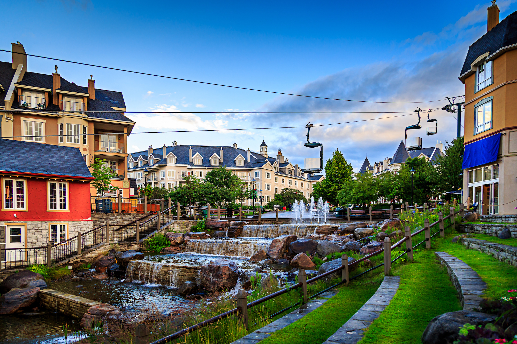 Mont-tremblant village on a beautiful day.